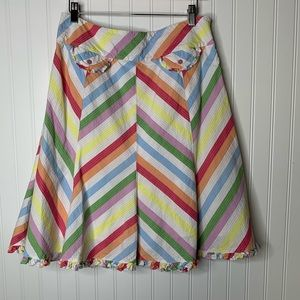 Anthropologie Odille striped midi a-line skirt 10